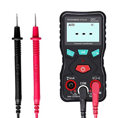 WY-YAN ET8133 totalmente identificación automática de voltaje del multímetro de diodo de capacidad actual del zumbador del medidor de verdadero valor eficaz con función de linterna 2000 Cuentas de la