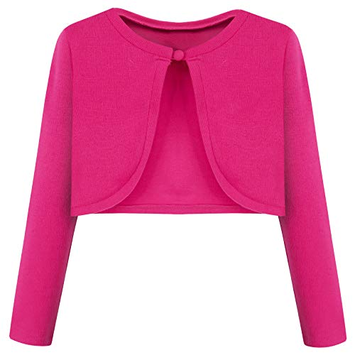 Bonny Billy Girls' Long Sleeve Knit Bolero Cardigans Jacket Cover Up Sweater 4-5 Years Hot Pink