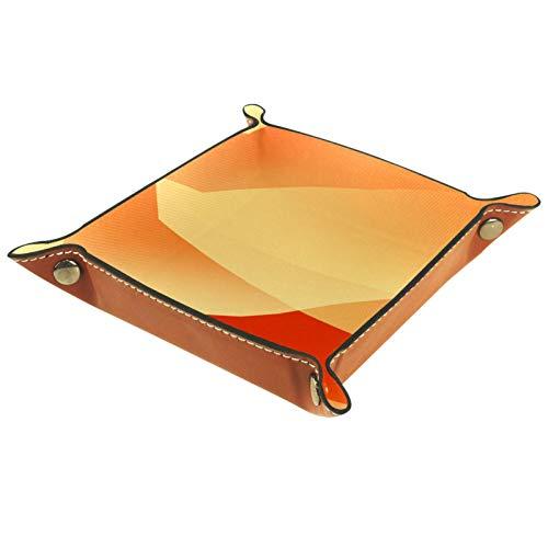 Bandeja de cuero para guardar joyas Catchall, bandeja para mesita de noche, llavero, cambio de moneda, reloj y soporte para caramelos, bandeja de entrada, color amarillo y naranja abstracto