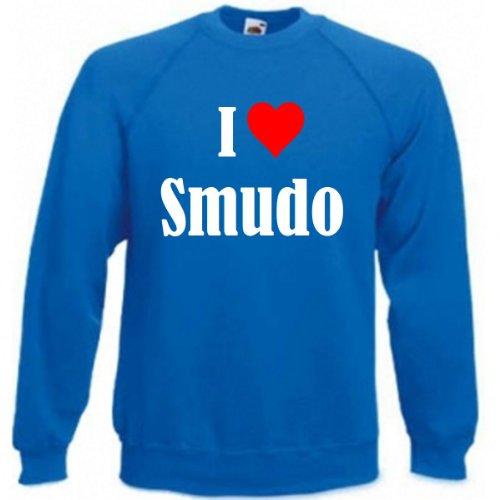 Reifen-Markt Sudadera con texto 'I Love Smudo para mujer, hombre y niños en los colores negro, blanco y azul con estampado azul 05Hombre 'XX-Large'