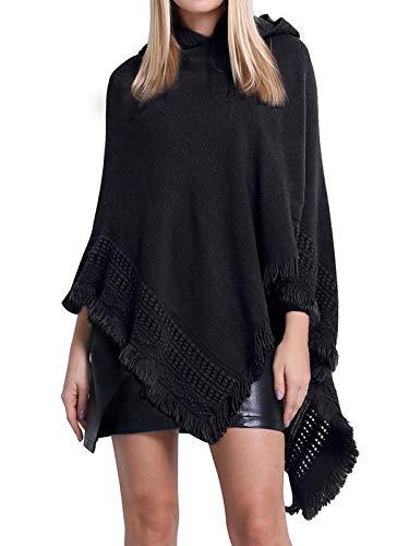SUNNYME Damen Strick Poncho Cape Überwurf V-Ausschnitt Batwing Crochet Hoodie Strickjacken Schwarz One Size
