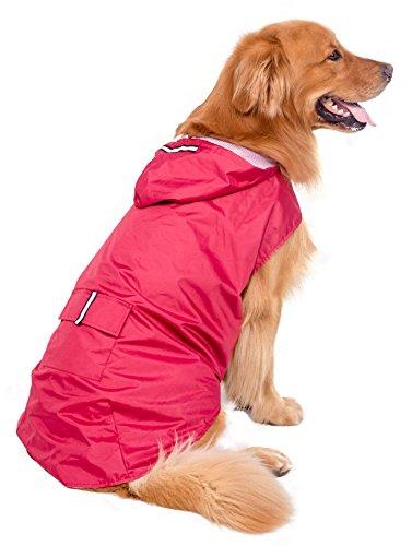 BPS wasserdichte Regenjacke für Haustiere, Hunde, mit Kapuze, für kleine, mittelgroße und große Hunde, 100 % Polyester, rot, 60cm