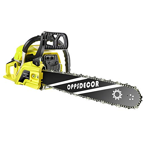 OppsDecor 20' 62CC Gas Chainsaw Power Chain Saw 2 Stroke Handed Petrol Gasoline Powered Chain Saw for Cutting Wood with Tool Kit (Yellow)