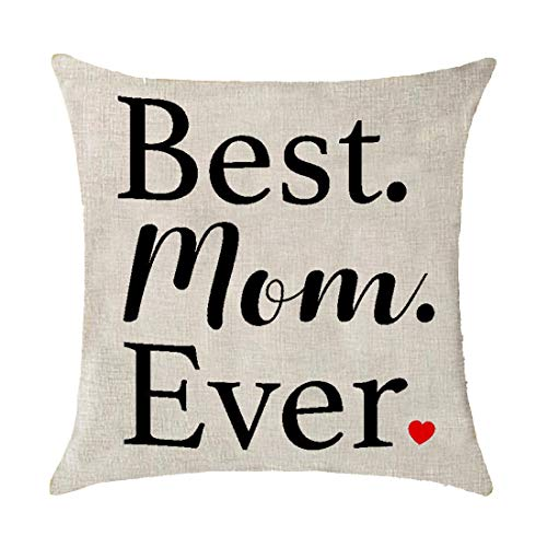 Best Mom Ever Love Shape Suitable for Family Cotton Linen Throw Pillow Covers Cushion Cover Pillowcover coush Decorative Square 18x18 inch Decorative Pillow Patio Furniture Pillow Birthday