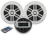 PIMAR Kit stereo con casse bianche radio bluetooth accessori barca gommone nautica (2 CASSE)