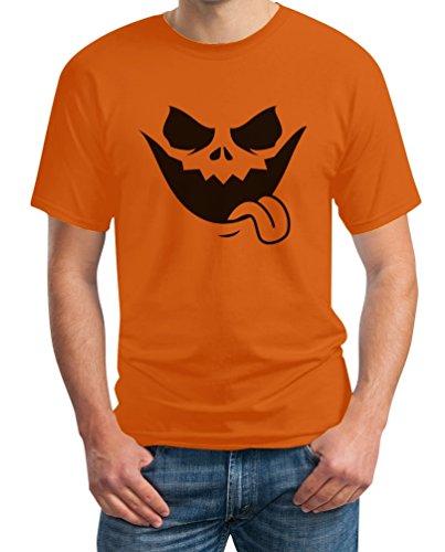 Halloween Jack O' Lantern Kürbis Gesicht T-Shirt L Orange