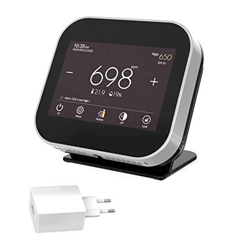 CO2 Messgerät KKmoon 0-9999PPM Raumluft Kohlendioxid Detektor mit akustischem Alarm und Nachrichtenerinnerung,Temperatur Feuchtigkeits Uhrzeit- und Datumsanzeige,USB-betriebener Deutsche Anzeige