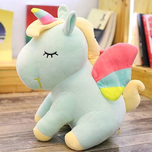 PANGDUDU Peluche De Dessin Animé Licorne Pegasus Poupée Oreiller Oreiller De Sommeil Mignon Jouet pour Enfants Cadeau D \ 'Anniversaire Doux, Vert Clair, 55Cm