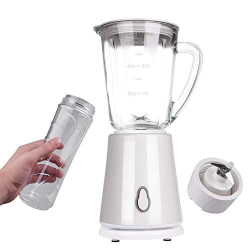 IW.HLMF Juicer machines,Blender and Grinder Milkshake and Smoothie Maker with 600ML Glass Jug, 500ML Free Tritan Cup for Juice Shakes and Smoothie, Milkshake, Fruit Vegetables Drinks, Ice,White peng