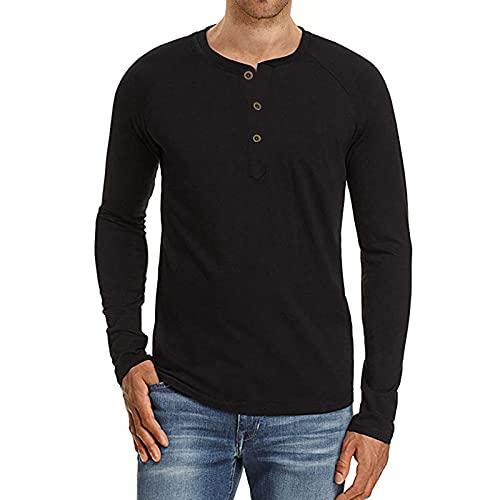 Chejarity Herren Klassisch Langarmshirt mit Knöpfen V-Ausschnitt T-Shirt Herbst Langärmliges Henley-Shirt Regular Fit Basic Einfarbige T-Shirt