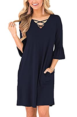 BLUETIME Women Criss Cross Neckline 3/4 Ruffle Sleeve Casual Tunic Top Dress with Pockets