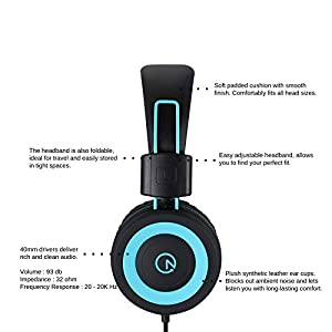 Kids Headphones - noot products K11 Foldable Stereo Tangle-Free 3.5mm Jack Wired Cord On-Ear Headset for Children/Boys/Girls/iPad/School/Kindle/Airplane/Plane/Tablet (Black)