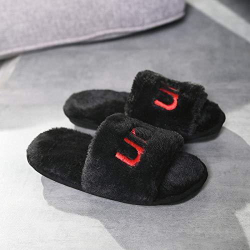 Zapatillas de Toalla,Zapatos de casa mullidos para Hombres de niñas jóvenes,toboganes caseros de Moda para Damas,Zapatillas de algodón cómodas,Chanclas de Pareja,Zapatos con Letras de Punta AB
