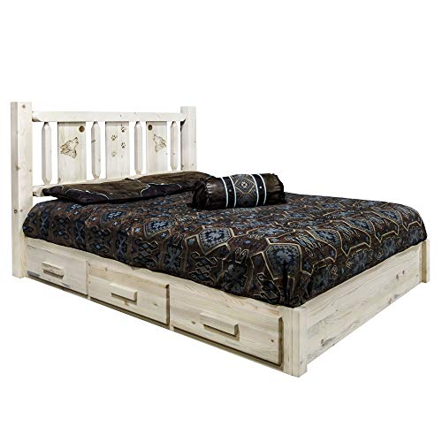 Learn More About Montana Woodworks Wolf Design Laser Engraved Platform Bed in Clear Lacquer Finish (...