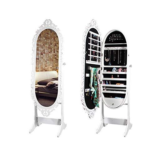 Armario de gabinete organizador de almacenamiento de joyas con cerradura de espejo de pie de longitud completa Para maquillaje dormitorio cosméticos ( Color : Blanco , tamaño : 170*47*10cm )