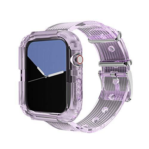 Hspcam Correa de silicona para Apple Watch 5 4 bandas 42mm 38mm Sport Correa transparente para iWatch Series 5 4 3/2/1 Watch Band 44mm 40mm (42mm o 44mm, púrpura)
