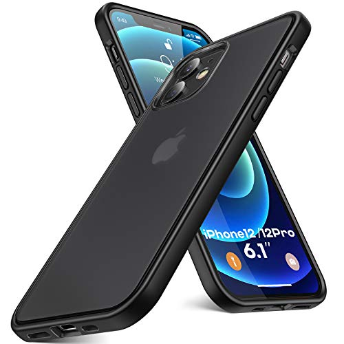 Humixx Shockproof iPhone 12 Case/iPhone 12 Pro Case Cover [Military Grade Drop Test] [Upgraded Nano Material] Translucent Matte Case with Soft TPU Bumper, Protective Case for iPhone 12/12 Pro - Black