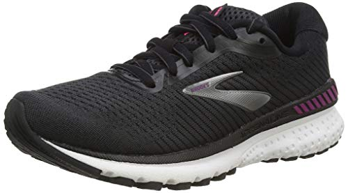 Brooks Womens Adrenaline GTS 20 Running Shoe, Black/White/Hollyhock, 40 EU