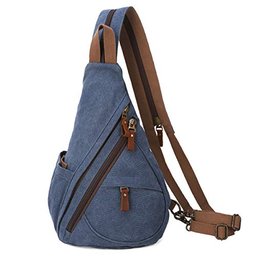 Canvas Sling Bag - Small Crossbody Backpack Shoulder Casual Daypack Rucksack for Men Women Outdoor Cycling Hiking Travel (6881-Blue)