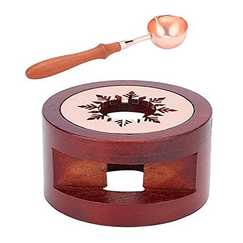 CRASPIRE Calentador de sello de cera, kit de fusión de calentador de cera de sellado con soporte de madera con cuchara de fusión para sellar cuentas de cera, sellando la fabricación de sellos de cera