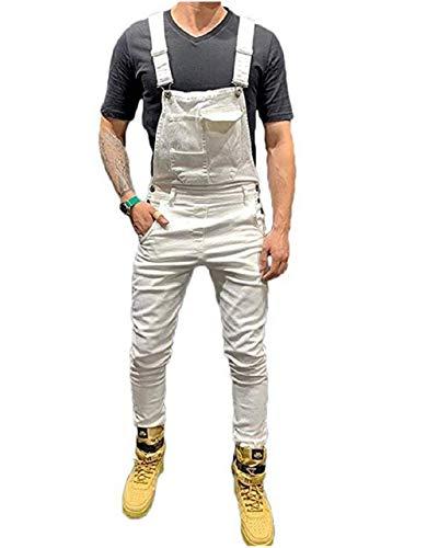 Mekysd Men's Denim Bib Workwear Fashion Denim Jumpsuit Slim Fit Jumpsuit with Pocket (White, L)
