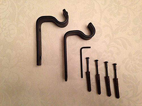 Een paar zwarte smeedijzeren metalen gordijnpaal muurbeugel voor een gordijnroede van 16 mm
