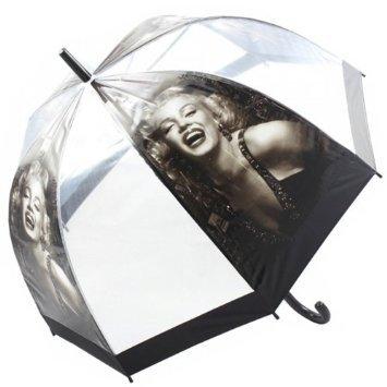 Retro Regenschirm Dome Form Griff Walking transparent 81 cm (Marilyn)