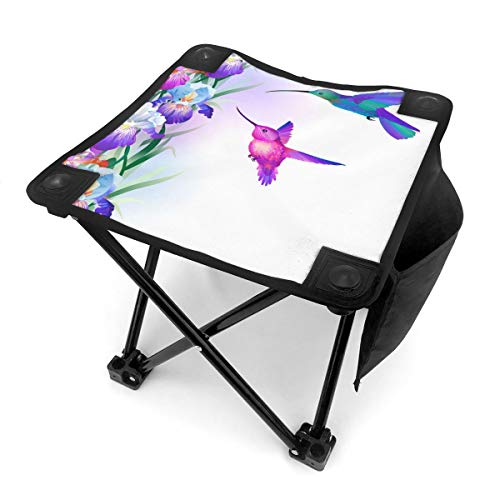 Nicokee Campingstuhl Klappstühle Aquarell Zeichnen Kolibri Blume Tragbarer Stuhl Sitz mit Tragetasche für Outdoor Angeln Sport Wandern Garten Picknick Strand BBQ