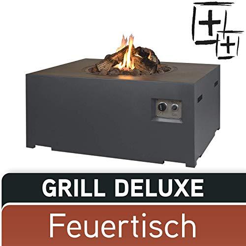 M A N I A Feuertisch Grill Deluxe Set - Gas Feuerstelle ohne Rauch, Funken, Glut & Asche - Gaskamin Outdoor mit 19,5 kW in Betonoptik grau 107 x 80 x 46 cm - Gasfeuerstelle Terrassenkamin Kaminfeuer