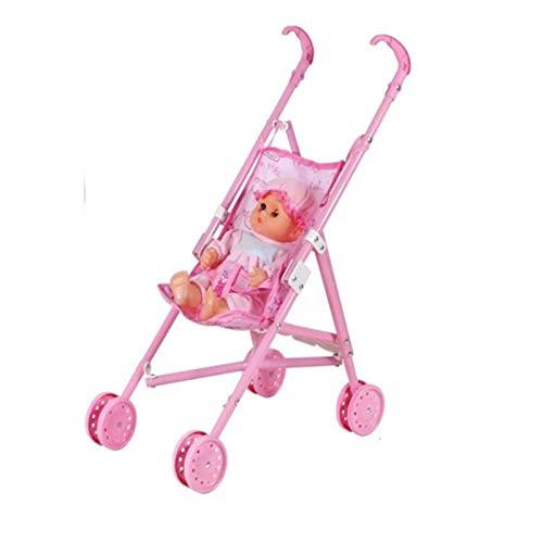likeitwell Andador Bebé Cochecito plegable para muñecas con resistente Baby, Niña jugar casa muñeca Regalo para niños transferable