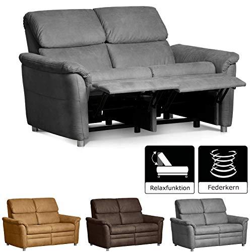 Cavadore 2-Sitzer Sofa Chalsay inkl. Relaxfunktion / mit Federkern / moderne Funktionscouch / Größe: 145 x 94 x 92 cm (BxHxT) / Farbe: Grau (argent)