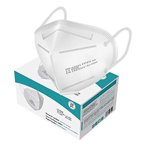 FFP2 Maske CE Zertifiziert, Atemschutzmaske 20 Stück, KN95 Maske Mehrschichtige Staubschutzmaske für Erwachsene Mund-und Nasenschutz