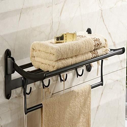 Badezimmer-faltender Handtuchhalter Retro nostalgischer schwarzer Handtuchhalter mit doppeltem Handtuchhalter und Kleiderhaken