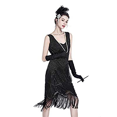 Gatsby Dresses for Women Roaring Sequin Dress Vintage 20s Fringed Sequin Beaded Tassels Hem Flapper Dress