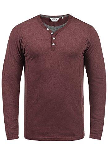 !Solid Doriano Herren Longsleeve Langarmshirt Shirt Mit Grandad-Ausschnitt, Größe:XL, Farbe:Wine Red Melange (8985)