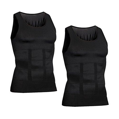 VENI MASEE Men es Body Shaper Schlankheits Weste, Männer elastische Formung Weste thermische Kompression Basisschicht schlank Kompression Muskel-Tank Shapewear (Z-Black Tank Top 2 pcs, L)