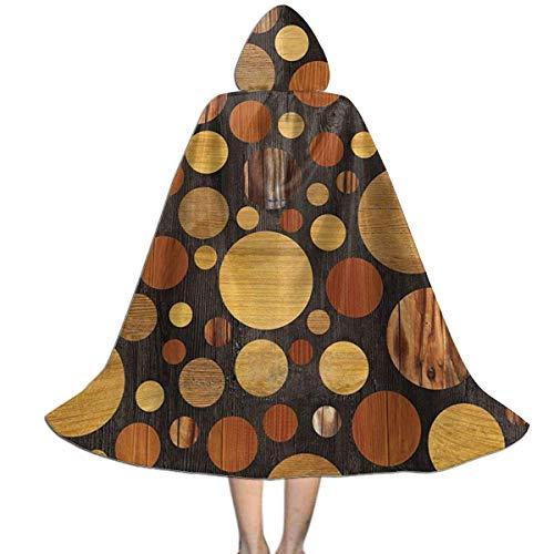 ZQHRS Rundholz Eiche natürliche Textur Kinder Kapuzenschal Umhang drapiert in Halloween, Kostüme, Rollenspiele, etc. Größe S