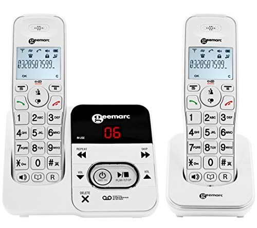 Geemarc Amplidect 295-2 Amplified (30dB) Cordless Twin Pack Telephones - Answering Machine & Caller ID - Phone for the Hard of Hearing with Loud Ringer & Indicator - Hearing Aid Compatible (T-Coil)