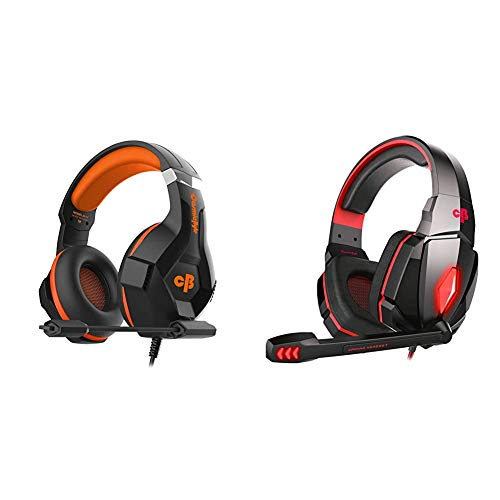 Cosmic Byte H11 Gaming Headset with Microphone (Black/Orange)&Cosmic Byte Over The Ear Headphone with Mic & LED - G4000 Edition (Red)