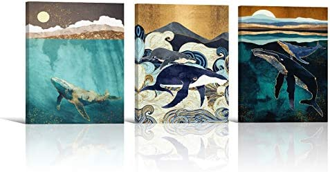 Abstract Whale Canvas Wall Art 3 Piece Paintings Modern Retro Canvas Artwork Ocean Animal Pictures product image