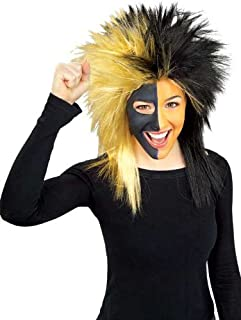 Rubie's Black and Gold Sports Fan Wig, Black/Gold, One Size