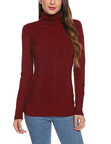 Aibrou Maglione Donna Collo Alto Inverno Maglieria Manica Lunga di Spessore Pullover