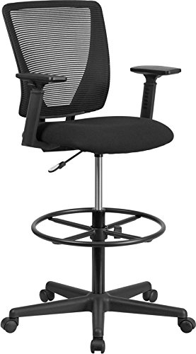 StarSun Depot Ergonomic Mid-Back Mesh Drafting Chair with Black Fabric Seat, Adjustable Foot Ring and Adjustable Arms 26.25' W x 26' D x 43' - 49.25' H