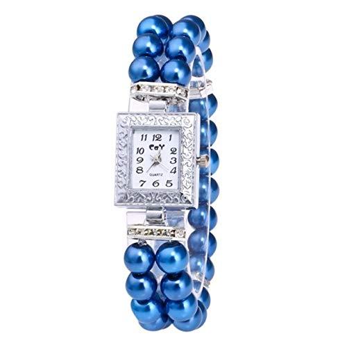 XIALINR Reloj De Cuarzo De Las Señoras, Reloj De Movimiento De Niñas, Reloj De Pulsera De Perlas De Diamante Cuadrado. Reloj de Moda (Color : Blue)