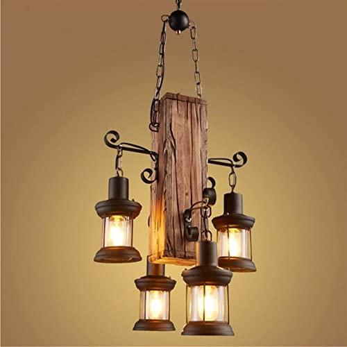 Iluminación colgante de interior 4 cabezas industrial vintage madera colgante colgante luz redonda pintura de madera lámpara de araña retro loft linterna para cafetería restaurante decorar iluminación