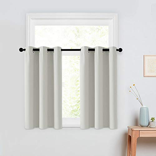 MRTREES Short Blackout Tier Curtains Greyish White 24 inches Long Kitchen Tiers Room Darkening Cafe Curtains Bathroom Small Window Treatment Set 2 Panels Grommet Top