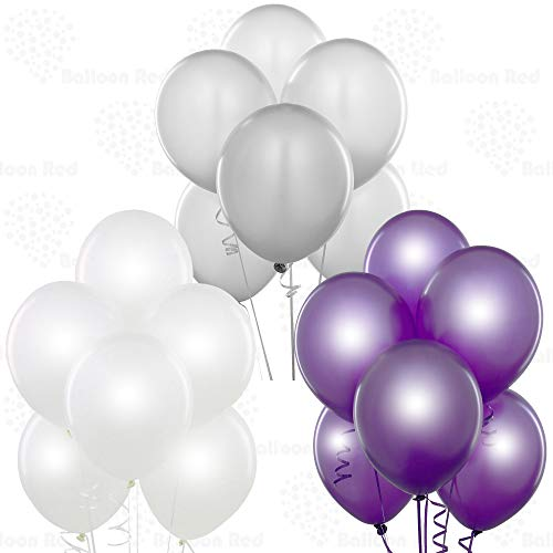 Pearl White/Silver/Metallic Purple 12 Inch Latex Balloons 72 Pack Thickened Strong for Baby Shower Garland Wedding Photo Booth Birthday Party Supplies Arch Decoration Anniversary Festival
