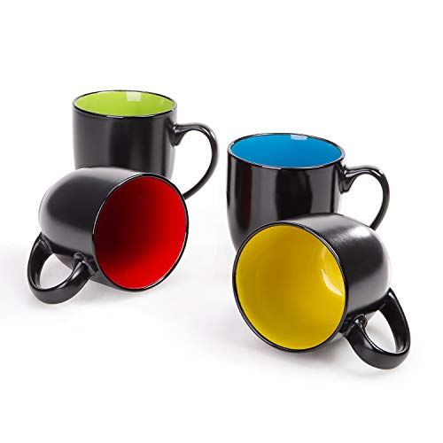 Cutiset 15 ounces Ceramic cool black coffee Mug Set of 4 (multicolor-black)