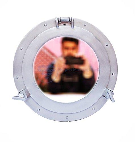 Nagina International Silver Deco, pulverbeschichtetes Premium-nautisches Aluminium-Piratenschiff-Bullaugen-Fenster | exklusiver Wanddekor-Akzent (20,3 cm)