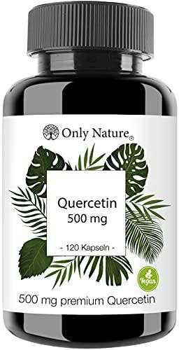 Only Nature Quercetin Kapseln 500mg hochdosiert - 120 laborgeprüfte Kapseln - vegan - ohne Zusätze - in Deutschland produziert